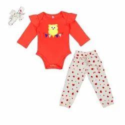 Full Sleeve Baby Romper With Full Pant For Baby Girls