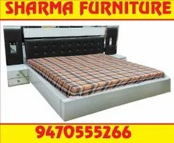 Teak Wood King Size Box Bed With Side Table At Sharma Furniture