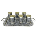 Antique Silver Plated Tray & Glass Set For Home, Office & Etc