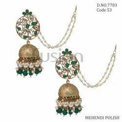Fusion Arts Mehendi Polish Kundan Jhumka Earrings