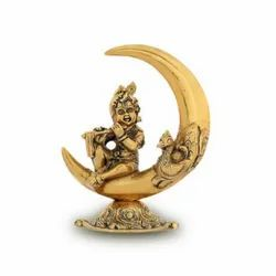 Gold Plated Laddu Gopal Statue Sitting On Moon Statue For Home Decoration & Wedding , Corporate Gift