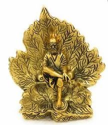 Gold Plated Sai Baba Sitting On Leaf Statue For Home Decoration & Corporate Gift