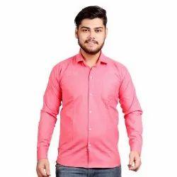 Plain Collar Neck Mens Rose Pink Cotton Shirt, Handwash