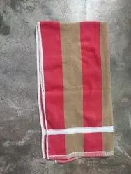 Stripe Red and Brown Cotton Bath Towel, For Hotel, Size: 60x30cm