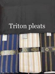 Tritan Pleats Cotton Fabric, Stripe, White