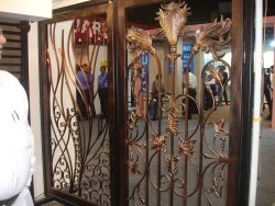 Silver Steel Ornate Exhibition Door, For Home