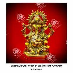 Metal Kala Lord Golden Ganesha God Statue