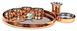 Steel Copper Curve Thali Set