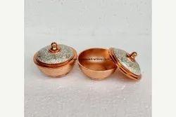 Round Traditional Vaishnavi Kumkum Pot Copper, For Pooja, 115gms
