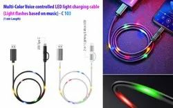 Voice controlled LED light charging cable