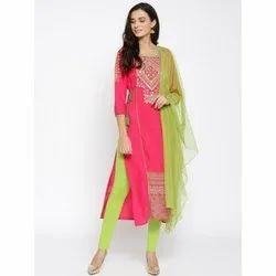 Party Wear Half Sleeve Aurelia Branded Salwar Set, Wash Care: Machine wash, Size: XL