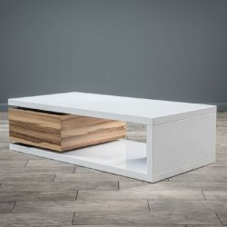 Glossy Rectangular Designer Wooden Coffee Table, Size: 32x32x18inch