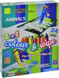 Ekta 2 In 1 Color & Wipe (animals + Birds)
