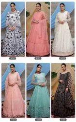 6 Color Net Ank Enterprise Exclusive Designer Bridal Gown Collection, Size: Free Size
