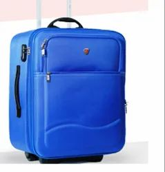 Blue Polyester Trolley Suitcase, Number Of Wheel: 2
