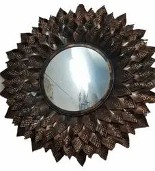 Brown Round Decorative Wall Mirror, For Home