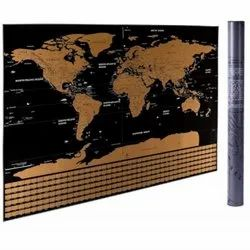 DaKos Scratch Off Tin Travel World Map Wall Poster with Country Flags (Large)