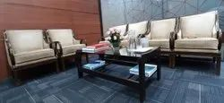 Modern 6 Seater Wooden Sofa Set, Living Room