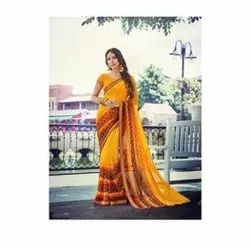 Festive Wear Printed Indian Ladies Saree, With blouse piece, 5.5 m (separate blouse piece)
