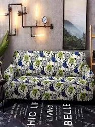 Cortina Double Spandex Fabric Floral Print For Sofa Cover Blue And White, 140 Gsm
