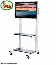 Mild Steel Powder Coated Black Heavy Duty TV Floor Stand Mount Bracket For TV Size, Model Name/ Number: Precision Metal Works