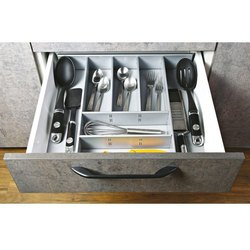 SLIMLINE 7-Compartments Metal Cutlery Flatware Tray Organizer Storage Basket -White