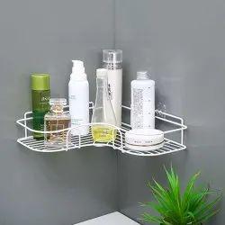 White Metal Corner Bathroom Rack