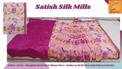 5.50 M Printed Pink Georgette Full Lace Border Saree