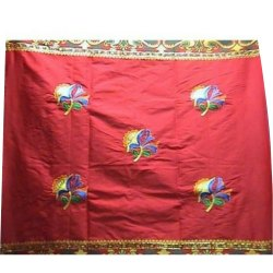 Red Base Polyester Embroidered Fabric