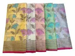 6.3m (With Blouse Piece) Printed Ladies Party Wear Banarasi Tissue Silk Saree
