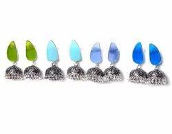 Chalcedony, Peridot Gemstone Jhumka Earrings Jewelry