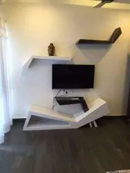 Wall Mounted White Wooden TV Unit, For Home