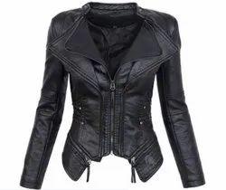 Black Polyester Wonderful Artistry Women's Leather Jacket