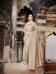 Silk India Chiku Party Wear Designer Saree, With Blouse Piece, 5.5 M (Separate Blouse Piece)