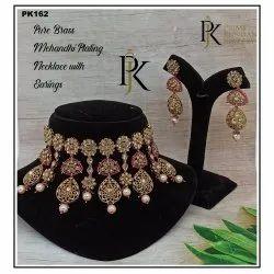 Reverse Ad PK162 Mehndi Plating Necklace Set, Size: Free Size