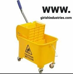 ABS Mini Mop Bucket Wringer Trolley With Wheel ( Yellow, 20 L)