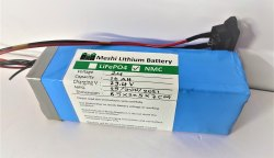 Meshi 24v 10ah Lithium Ion Battery Extra Long Life, Plug Connector, Nmc