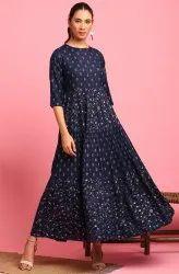 Janasya Women's Navy Blue Cotton Flex Ethnic Dress (J0210)