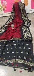 Wooven design Original Lilen Linen Saree, 6.3 m (with blouse piece)