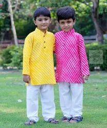 Casual Wear Printed Kids Boys Kurta Pajama Set