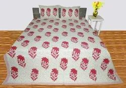 Dyed Hand Block Printed Bedsheet (With 2 Pillow Case)