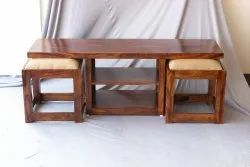 Wooden Coffee Table With Stools