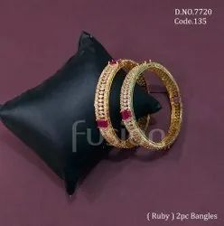 Party Wear Round Fusion Arts American Diamond Ruby Stone Bangle, 2 Pieces