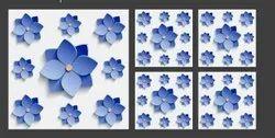 Vitrified Multicolor Flower Floor Tile 3D, Thickness: 8 - 10 MM, Size: Medium