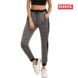 Track Pant Gray Women Cotton Heather Contrast Side Panel Jogger
