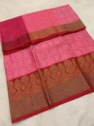 Wedding Wear Printed Ladies Pink Banarasi Tanchoi Silk Saree, 6.3m (With Blouse Piece)