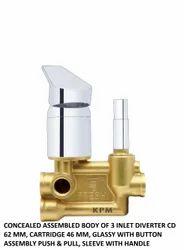 Brass Forged Diverter 3 Inlet Heavy Body Assy