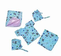 Casual Wear Blue New Born Baby Dress Kit