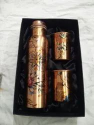Printed Copper Water Bottle With 2 Glass Gift Set