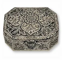 Metal Silver Plated Square Shape Jewellery Box For Corporate & Wedding Gift